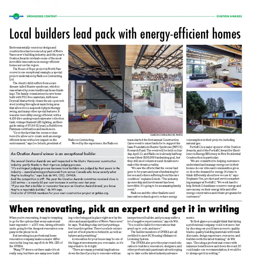 Newspaper headline reads local builders lead pack with energy efficient homes