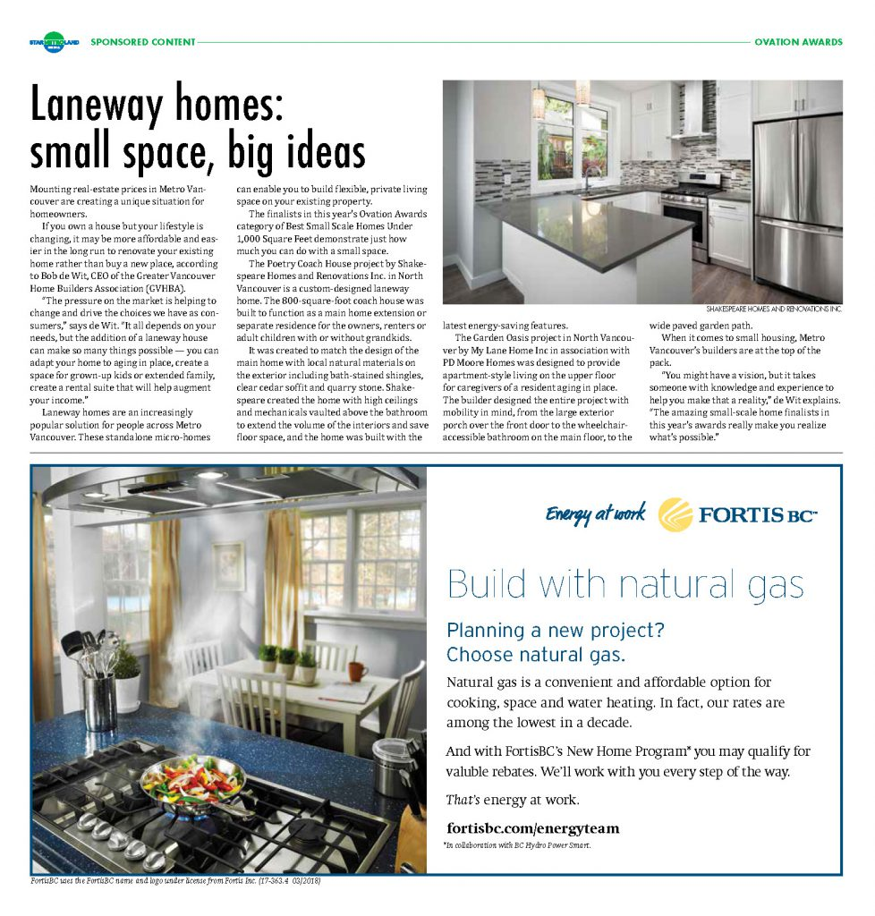 Laneway homes: small spaces; quality bathrooms; amazing kitchens; big ideas