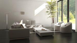 White and grey style living room with symmetrical furniture layout